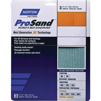 "Norton 02627 9"" x 11"" Prosand P150B Bulk, Package Of 500"