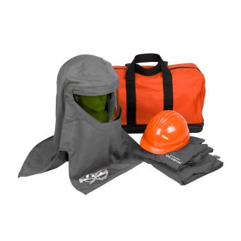 Dark Gray 2XL 100 Cal Kit, Jacket, Overalls, Hard Hat, Hood, Bag, Safety Glasses HRC 4 Kits