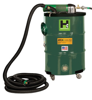 "30 Gallon Anti-Static Explosion-Proof Pneumatic Vacuum 185CFM Dual Venturi ATEX, 1.5"" x 25' Hose"