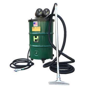 "30 Gallon Anti-Static Explosion-Proof Pneumatic Vacuum 185CFM Dual Venturi with Silencer, 2"" x 15' Hose"