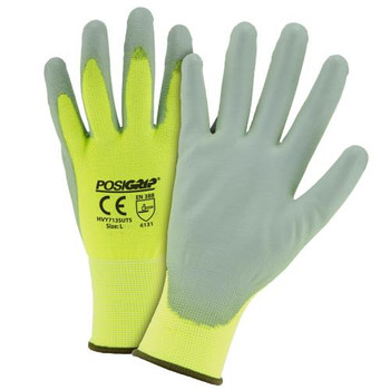 """Touch Screen"" Gray PU palm coating, 13 gauge Hi vis yellow nylon shell touch screen tips"