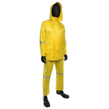 ".18 MM DNIP Low-Lead PVC over Polyester 3pcs Rain Suit, 1"" Reflective Silver Tape, Zip Up Front w/ Button Storm Flaps, Hidden Zipper Pocket, Sewn & Taped Seams, Detachable Hood w/ Visor - Safety Yellow"