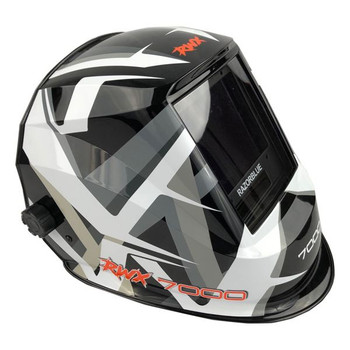 Auto Darkening Welding Helmet with Blue Lens and 5 Point Head Harness and Pattern