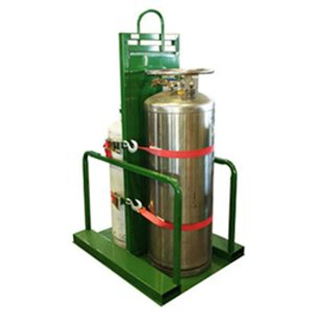 Liquid / Fuel Gas Cylinder Transport Pallet with Firewall - Forklift Access