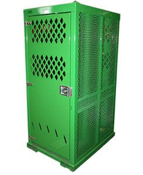 6ea Oxygen & Acetylene Cylinders Metal Cage, Seven Gauge Steel Top, E-Track Strapping System, Lockable Doors