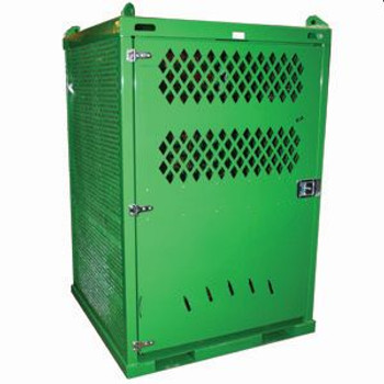 20 High Pressure Cylinder Storage Cage, 4 point Lifting ears, Seven Gauge Steel Cage, Lockable Door, E-Track Strapping System
