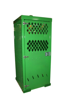 "9 High Pressure Cylinders Storage Cabinet, Lockable Door, E-Track Strapping System, 3/16""x2"" Bar Grate Floor"