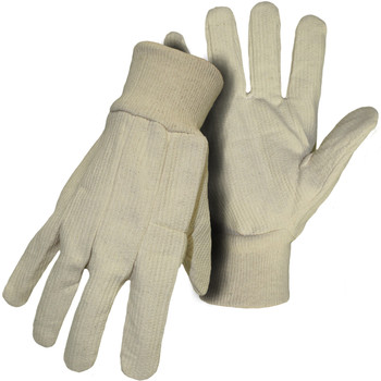 10 oz.,Natural KW,100% Cotton Cord - Size L, Natural 1 Pair - Fabric Gloves