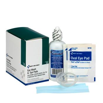 10 Piece Eye Wash Kit - 4 oz. Eyewash, Eye pads & Adhesive Strips, 1 set/box