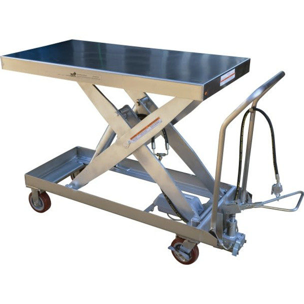 "Vestil Silver Hydraulic Steel Cart 24 x 54"""