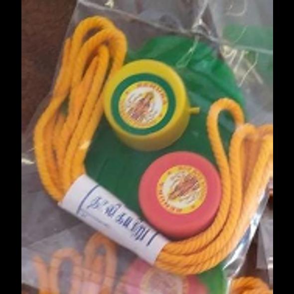 Gopuram Leaf Set w Yellow Thread