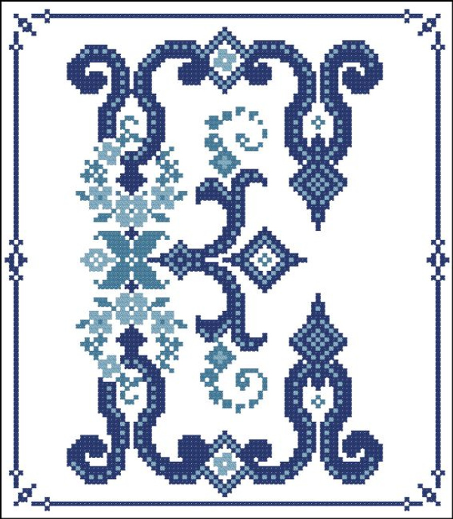 Decorative Blue Alphabet E