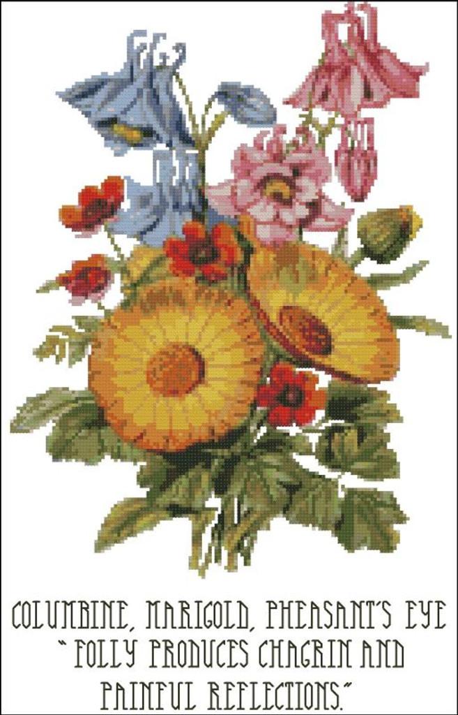 Floral Emblems 004-Columbine, Marigold, Pheasant's Eye