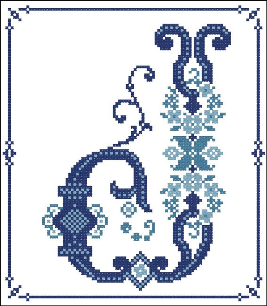 Decorative Blue Alphabet J