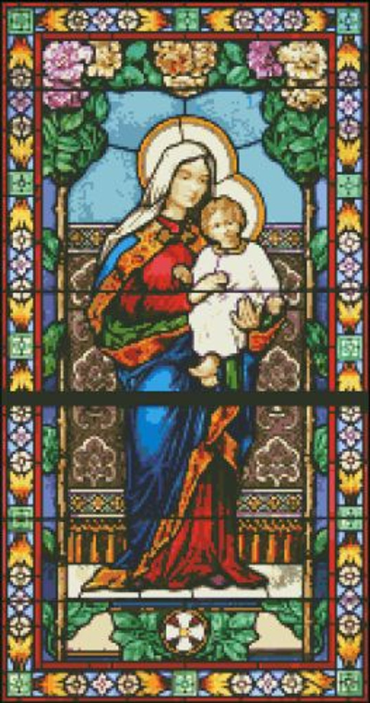 Mary and Jesus Stained Glass