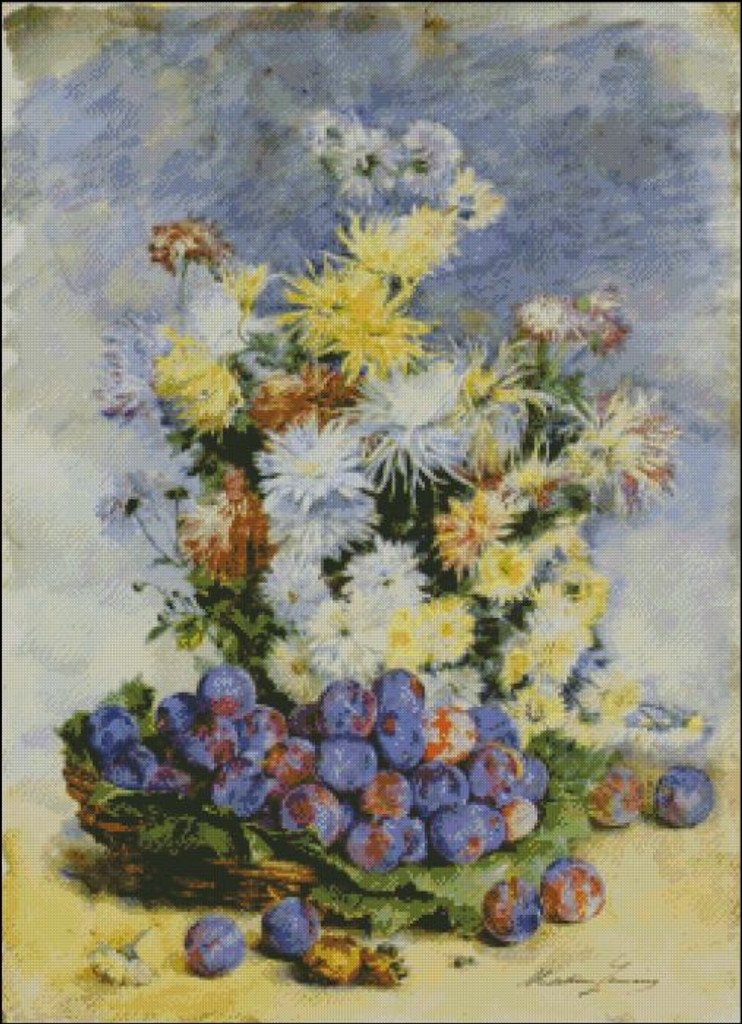 Prunes and Chrysanthemums