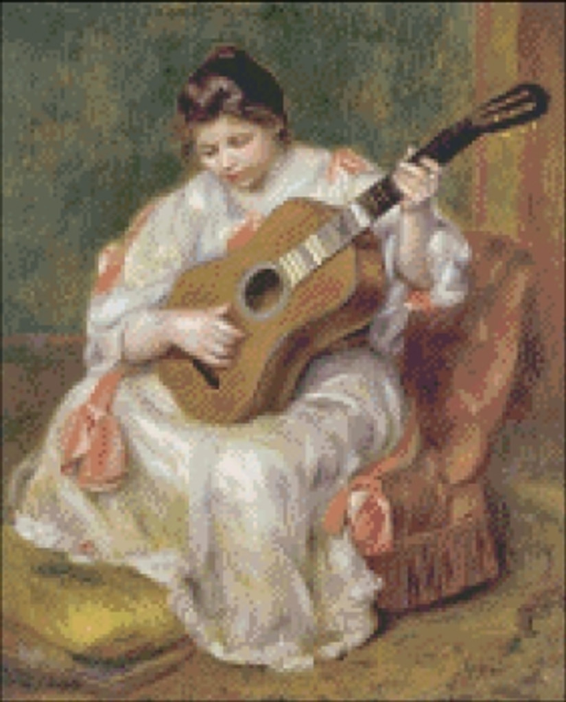 Young Girl Playing a Guitar