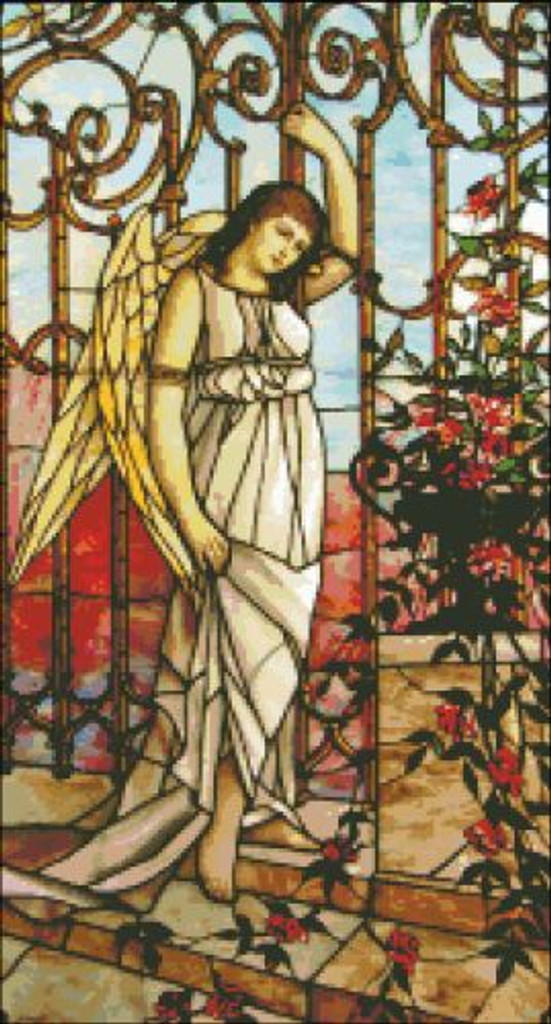 Angel and Roses Stained Glass
