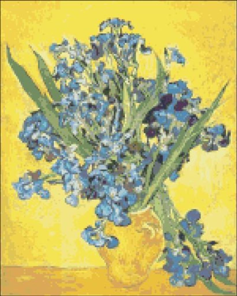 Vase with Irises Yellow Background