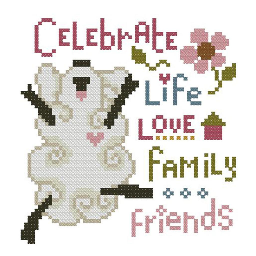 Celebrate Life Mini Cross Stitch Pattern