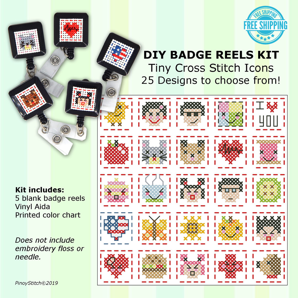 DIY Set of 5 Badge Reels Cross Stitch Kit (Badge Reels, Vinyl & Pattern)