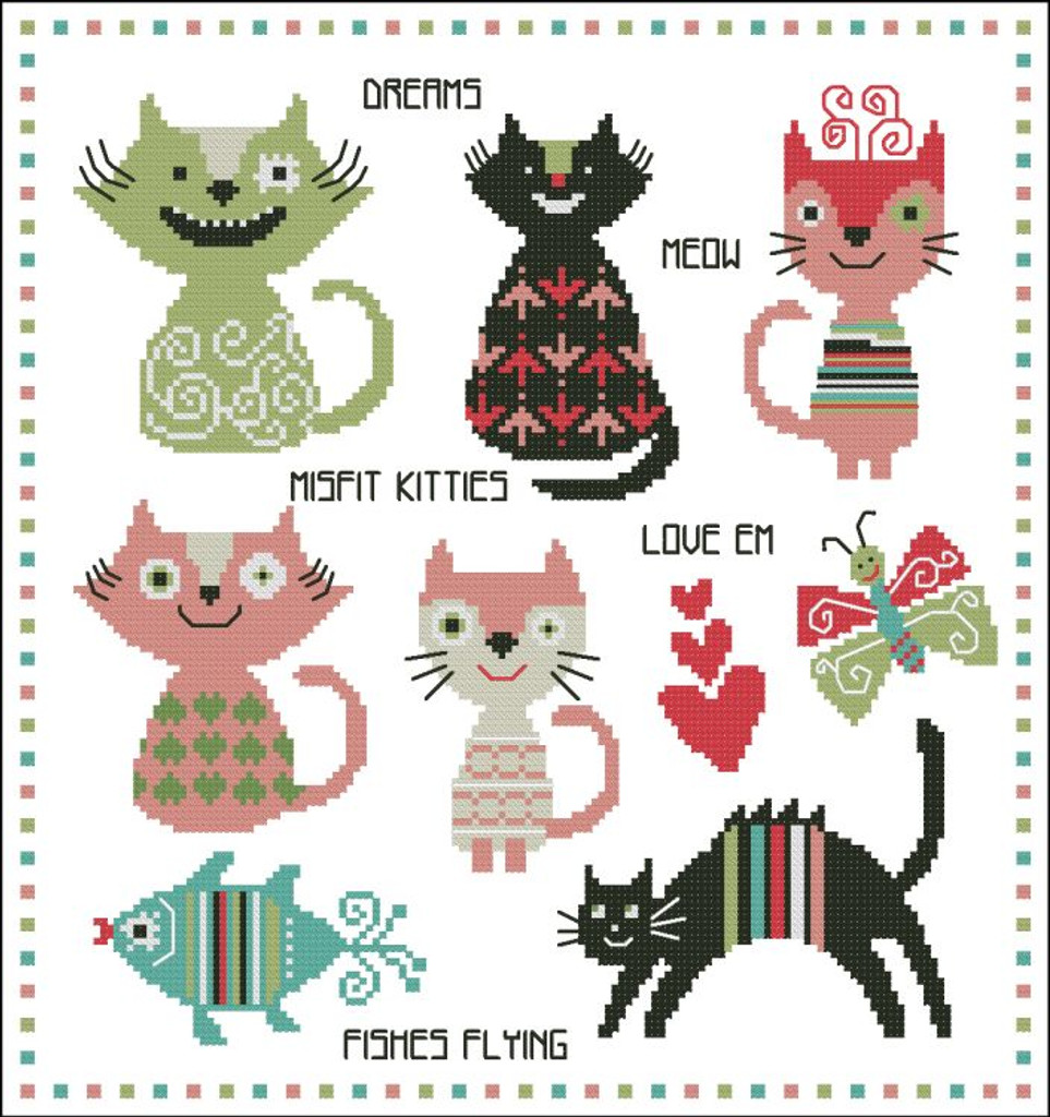 Misfit Kitty Cats Colorful