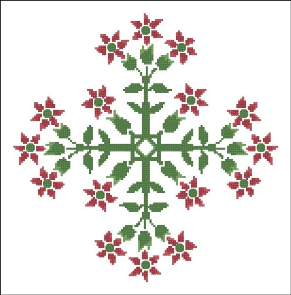 Floral Ornamental #0102 Red Star Blooms