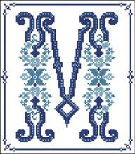 Decorative Blue Alphabet M