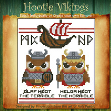 Hootie Vikings Mini Cross Stitch Pattern