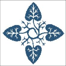 Floral Ornamental #054 Blue Leaves