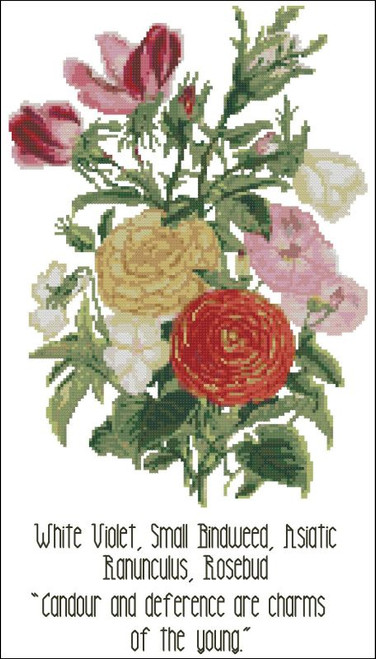 Floral Emblems 002-White Violet, Small Bindweed, Rosebud