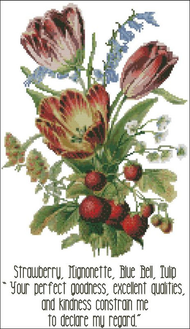 Floral Emblems 003-Strawberry, Mignonette, Blue Bell, Tulip