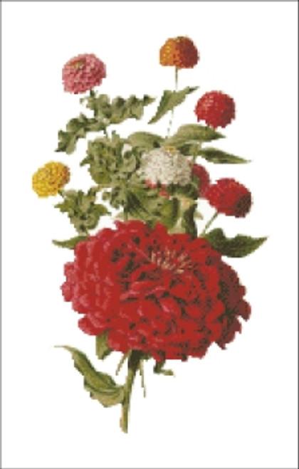 Zinnia Flower Cross Stitch Pattern