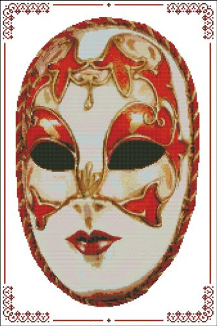 Carnival Masks - 004 Red Gold Cord Right