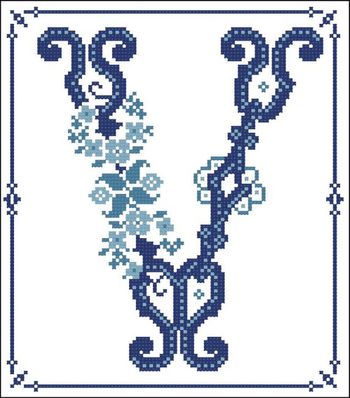 Decorative Blue Alphabet V