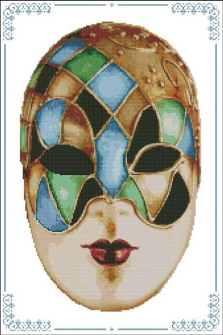 Carnival Masks - 010 Gold Blue Green
