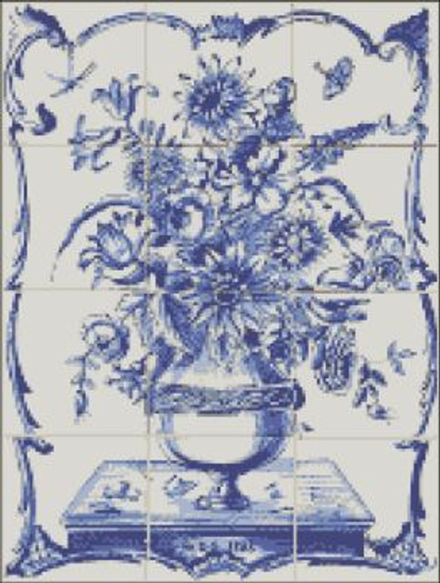 Dutch Tile White & Blue Mural