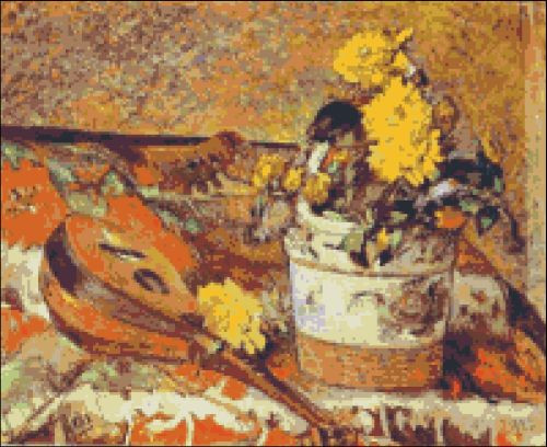 Mandolin and Flowers