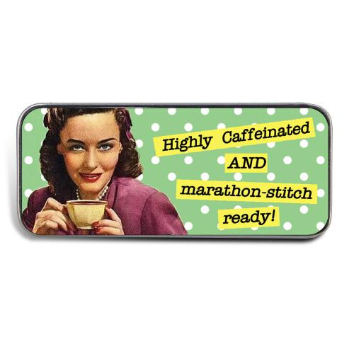 Magnetic Sewing Needle Case Retro Polka Dot Highly Caffeinated Marathon Stitch Ready