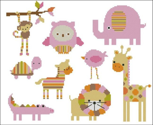 Candy Stripes Zoo Pink