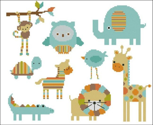 Candy Stripes Zoo Turquoise