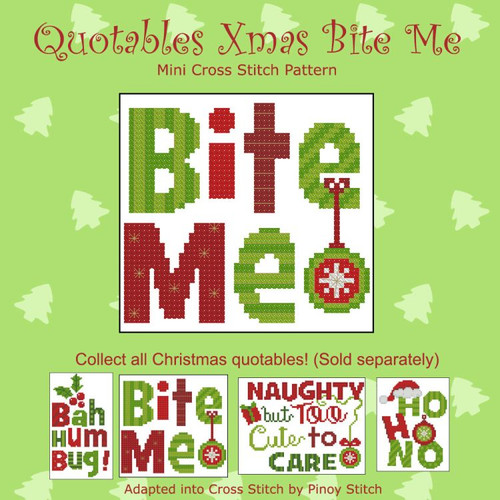 Quotables Christmas Bite Me Cross Stitch Pattern