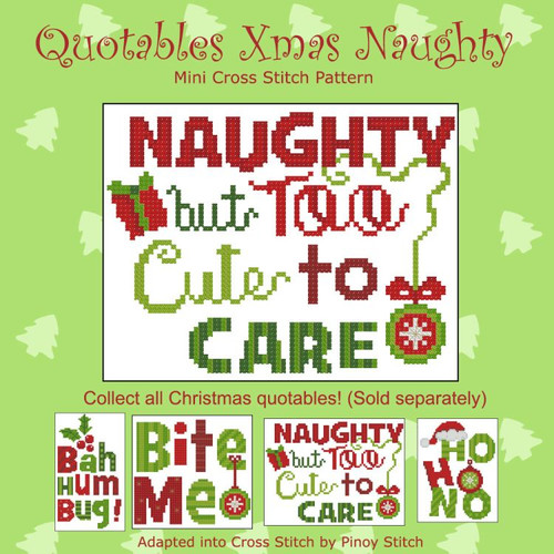 Quotables Christmas Naughty Cross Stitch Pattern