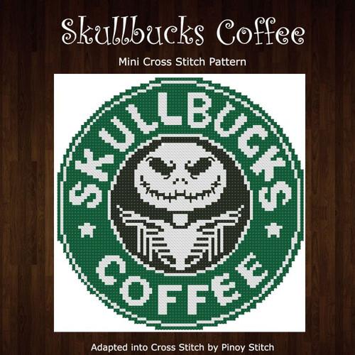 Skullbucks Coffee Humor Cross Stitch Pattern