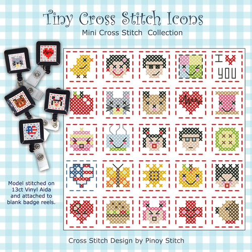 Tiny Icons Cross Stitch Badge Pattern