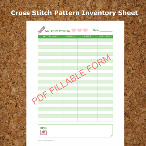 "Editable & Printable Cross Stitch Pattern Inventory Sheet 8"" x 11"" Adobe PDF"
