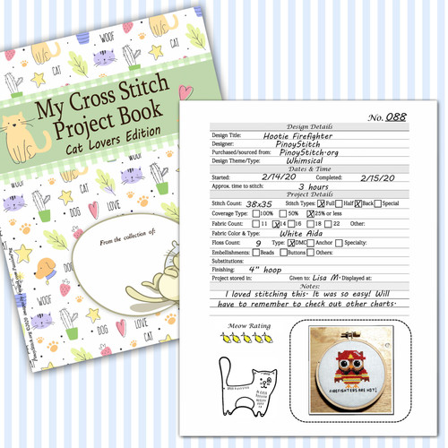Cross Stitch Project Book Journal Cat Lovers Fur Momma Embroidery Detail Sheet Printable PDF Downloadable File