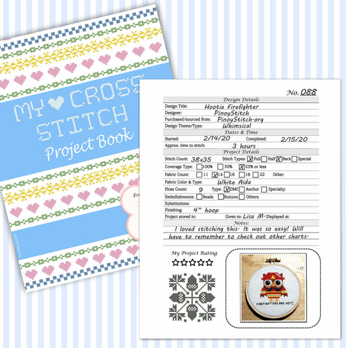 Cross Stitch Project Book Journal XStitching Embroidery Detail Sheet Printable PDF Downloadable File