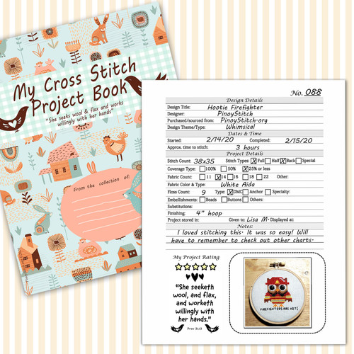 Cross Stitch Project Book Journal Spiritual Christian Bible Verses Detail Sheet Printable PDF Downloadable File