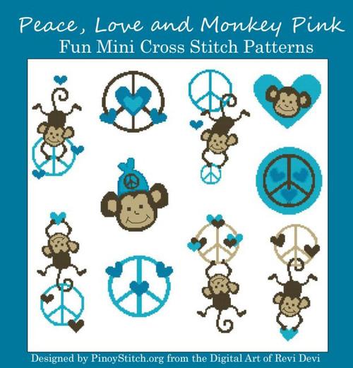 Peace Monkey Love Blue